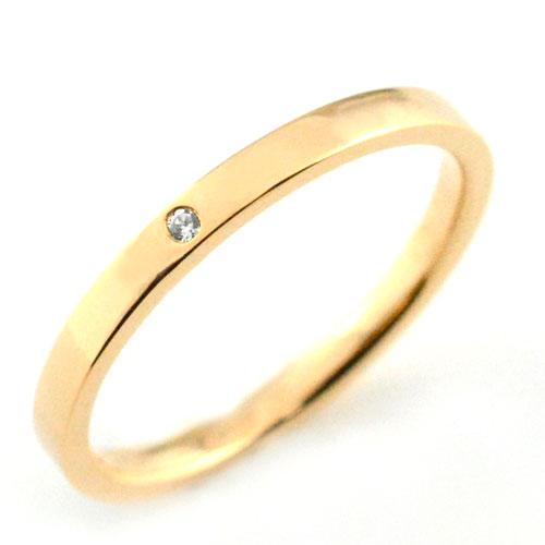 レディース リング ダイヤモンド ピンクゴールドk18 シンプル k18 ストレート 平打ち 地金リング ダイヤ ダイヤモンド 結婚指輪 エンゲージリング ハンドメイド 18k 18金 一粒 2mm