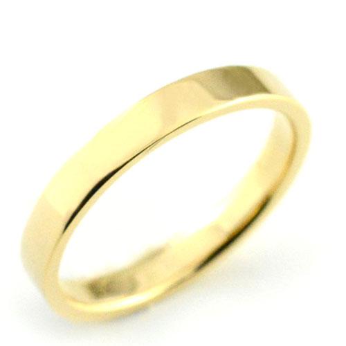 【送料無料】メンズ リング イエローゴールドk18 シンプル k18 ストレート 平打ち 地金リング 結婚指輪 ハンドメイド 18k 18金 石なし 3mm クリスマス Xmas