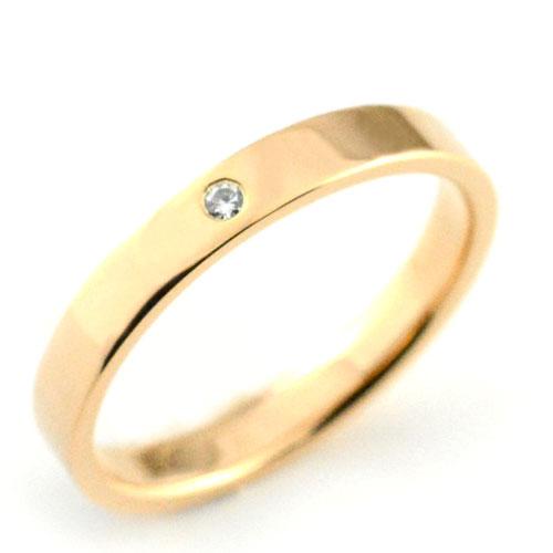 【送料無料】メンズ リング ダイヤモンド ピンクゴールドk18 シンプル k18 ストレート 平打ち 地金リング ダイヤ ダイヤモンド 結婚指輪 ハンドメイド 18k 18金 一粒 3mm