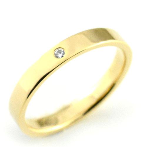 【送料無料】レディース リング ダイヤモンド イエローゴールドk18 シンプル k18 ストレート 平打ち 地金リング ダイヤ ダイヤモンド 結婚指輪 エンゲージリング ハンドメイド 18k 18金 一粒 3mm