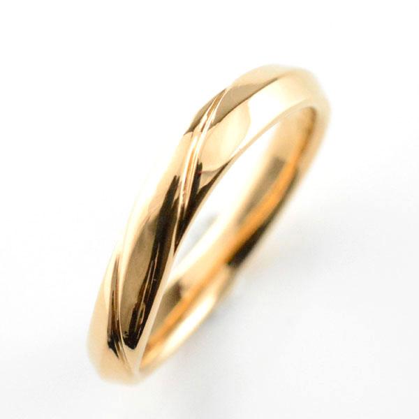 【送料無料】レディース リング ピンクゴールドk18 シンプル k18 結婚指輪 ライン エンゲージリング ハンドメイド 甲丸 18k 18金 3mm ホワイトデー