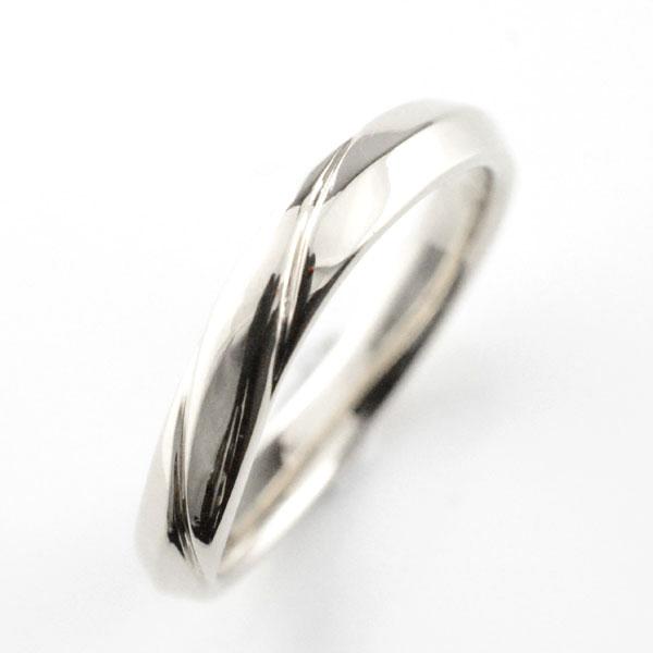 【送料無料】レディース リング ホワイトゴールドk18 シンプル k18 結婚指輪 ライン エンゲージリング ハンドメイド 甲丸 18k 18金 3mm ホワイトデー