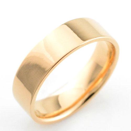 【送料無料】レディース リング ピンクゴールドk18 シンプル k18 ストレート 平打ち 地金リング 結婚指輪 エンゲージリング ハンドメイド 18k 18金 6mm ホワイトデー