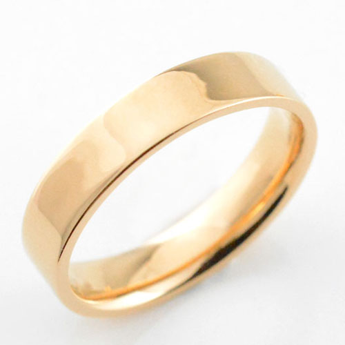 【送料無料】メンズ リング ピンクゴールドk18 シンプル k18 ストレート 平打ち 地金リング 結婚指輪 エンゲージリング ハンドメイド 18k 18金 4mm