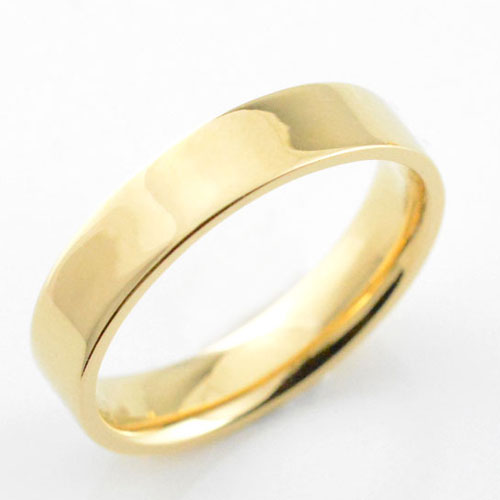 メンズ リング イエローゴールドk18 シンプル k18 ストレート 平打ち 地金リング 結婚指輪 エンゲージリング ハンドメイド 18k 18金 4mm