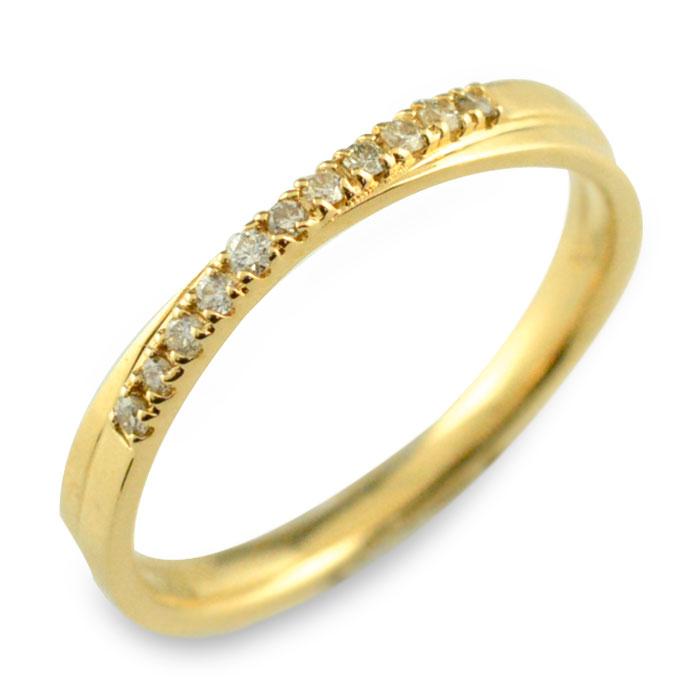 クロス 18金 レディース ハーフエタニティ リング 18k ダイヤモンド k18 指輪 重ねつけ イエローゴールド