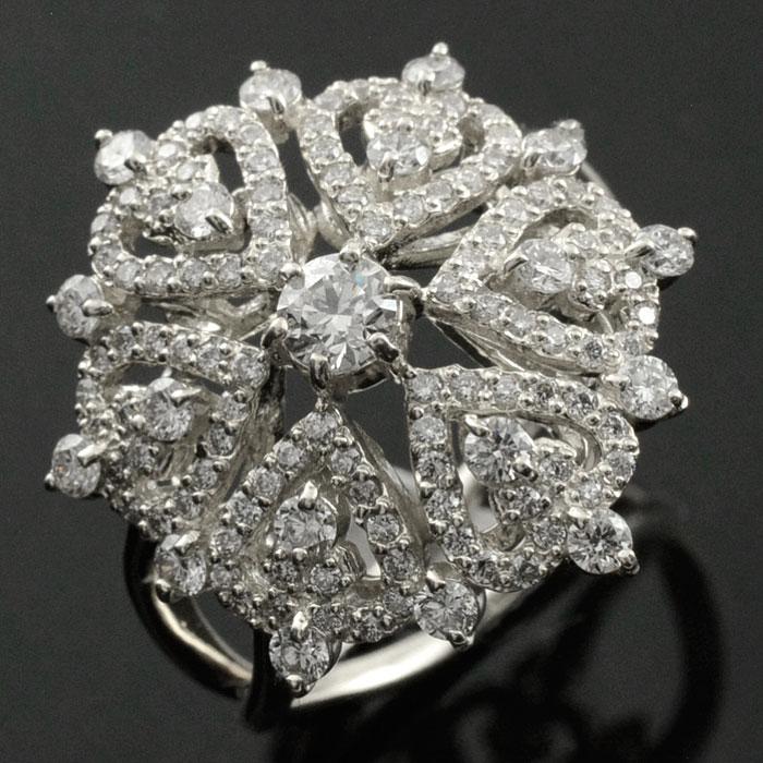 【送料無料】ダイヤモンドリング 指輪 プラチナ 1.0ct ダイヤモンド アンティーク レース pt900 レディース 透かし プラチナ900 幅広 ゴージャス 花 フラワー ダイヤ マダム セレブ ホワイトデー