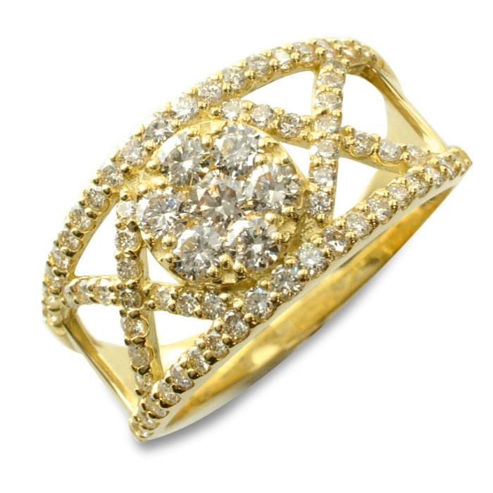 【送料無料】ダイヤモンドリング 指輪 ゴールド 1.0ct ダイヤモンド アンティーク 18k k18 18金 レディース 透かし 幅広 ゴージャス 花 フラワー ダイヤ クリスマス Xmas