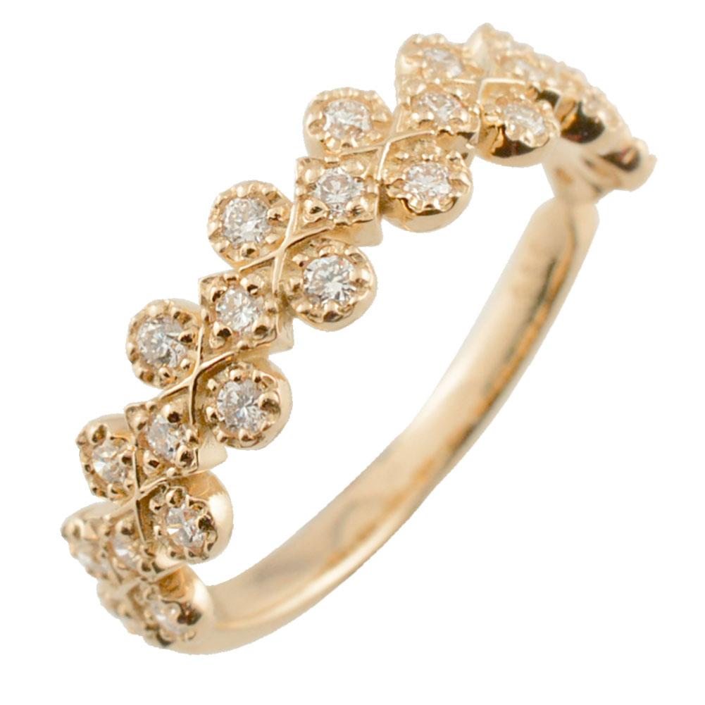 リング ダイヤモンドリング 指輪 ピンクゴールド ダイヤモンド 新作 アンティーク ミル 10k k10 10金 レディース ダイヤ