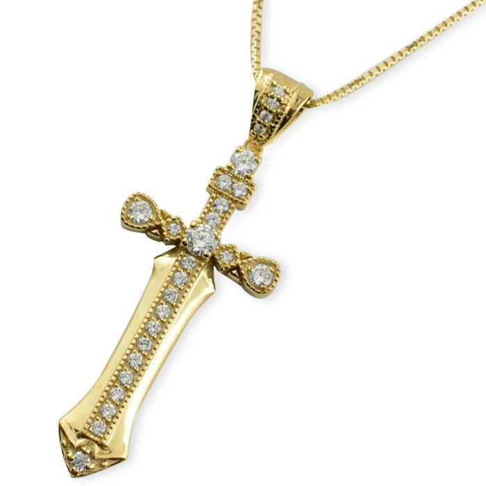 ネックレス メンズ クロスネックレス ダイヤモンド ダイヤ k18 18k 18金 クロス イエローゴールド ペンダント クロスペンダント レディース 十字架 ベネチアン アンティーク 剣
