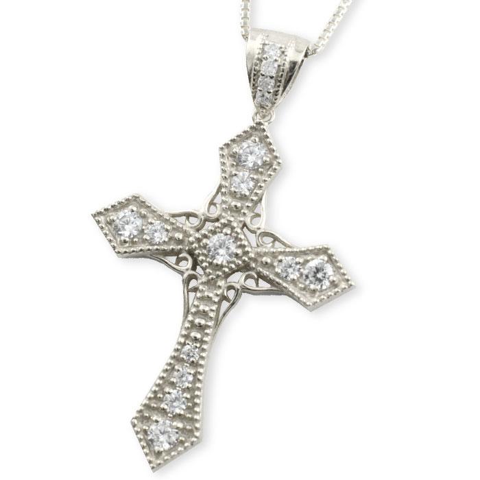 ネックレス メンズ クロスネックレス プラチナ ダイヤモンド ダイヤ pt900 pt850 クロス ペンダント クロスペンダント レディース 十字架 ベネチアン アンティーク 剣
