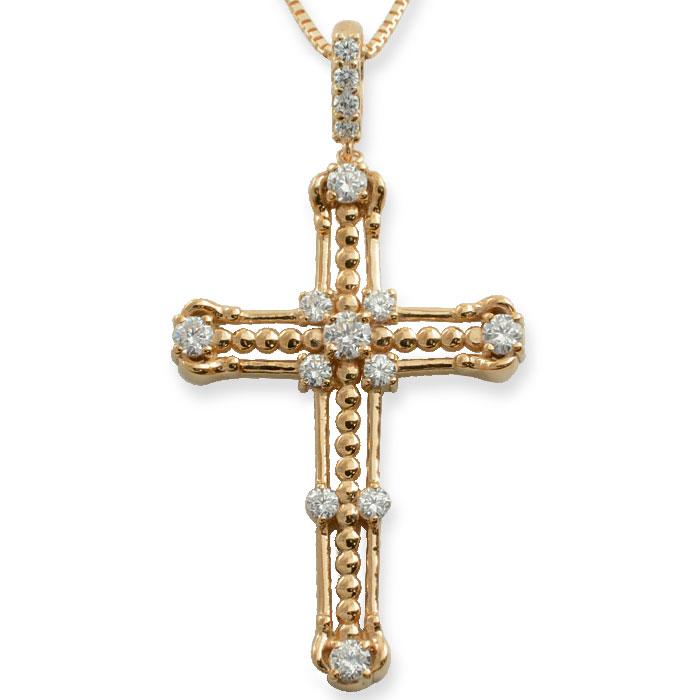 ネックレス メンズ クロスネックレス ダイヤモンド ダイヤ k18 18k 18金 クロス ピンクゴールド ペンダント クロスペンダント レディース 十字架 ベネチアン アンティーク