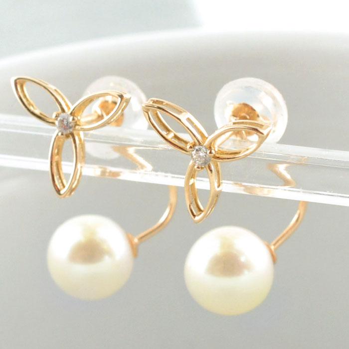 【送料無料】パール ピアス K10 天然ダイヤモンド 10K 10金 2way フラワー ゴールド 真珠 淡水 ピンクゴールド 華奢 シンプル 輝き ホワイトデー
