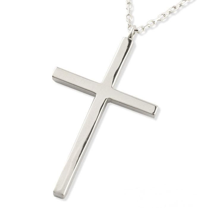 【送料無料】クロスネックレス k18 18k 18金 クロス ネックレス ペンダント ホワイトゴールド クロスペンダント シンプル 地金 十字架 華奢 プレゼントに