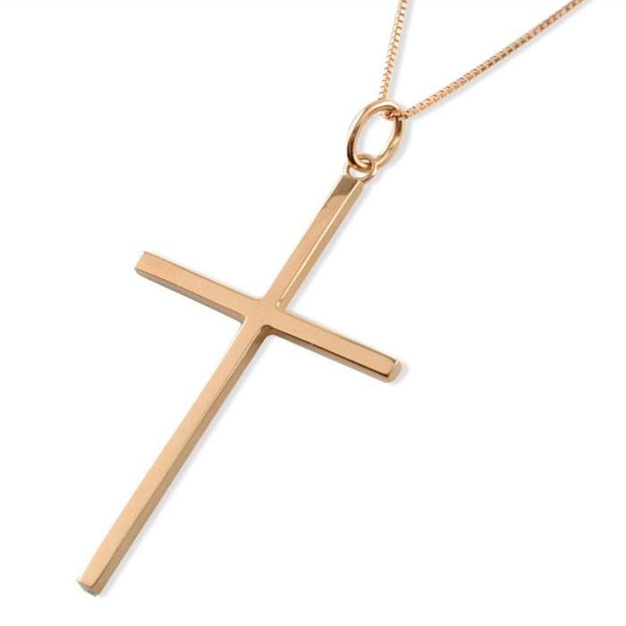 【送料無料】メンズ クロスネックレス k18 18k 18金 クロス ネックレス ペンダント ピンクゴールド クロスペンダント シンプル 地金 十字架 ベネチアン ミドル プレゼントに