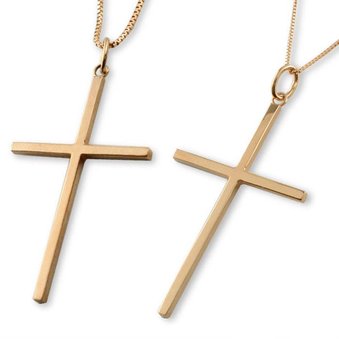 ペアネックレス ペアペンダント クロスネックレス k18 18k 18金 クロス ネックレス  ペアジュエリー  ピンクゴールドk18 ペンダント メンズ レディース シンプル 地金 十字架 ベネチアン ペア