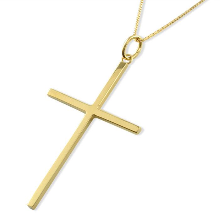 ネックレス メンズ クロスネックレス k18 18k 18金 クロス ペンダント ゴールド クロスペンダント シンプル 地金 十字架 ベネチアン ミドル プレゼントに