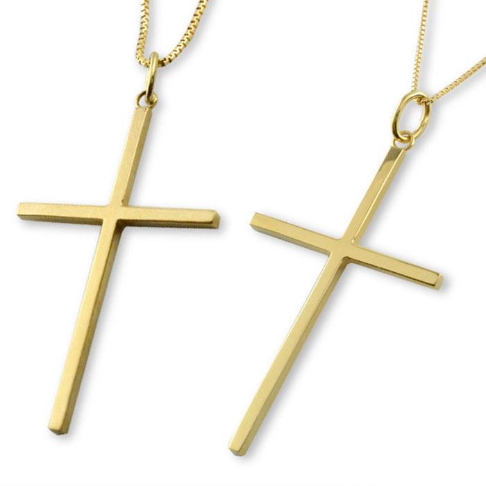 ネックレス ペアネックレス ペアペンダント クロスネックレス k18 18k 18金 クロス ペアジュエリー イエローゴールドk18 ペンダント メンズ レディース シンプル 地金 十字架 ベネチアン ペア