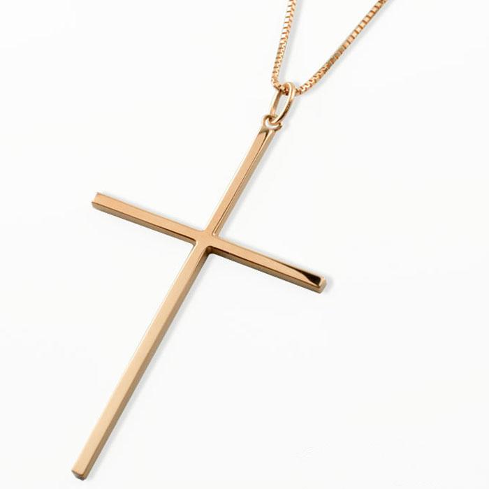 【送料無料】メンズ クロスネックレス k18 18k 18金 クロス ネックレス 特大 ピンクゴールドk18 ペンダント クロスペンダント シンプル 地金 十字架 ベネチアン プレゼントに
