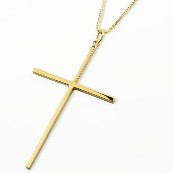 【送料無料】メンズ クロスネックレス k18 18k 18金 クロス ネックレス 特大 イエローゴールドk18 ペンダント クロスペンダント シンプル 地金 十字架 ベネチアン プレゼントに