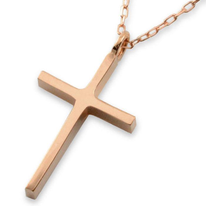 ネックレス クロスネックレス K10 ピンクゴールド クロス K10 ペンダント クロスペンダント シンプル 地金 ペンダント 十字架 華奢 10k プレゼントに