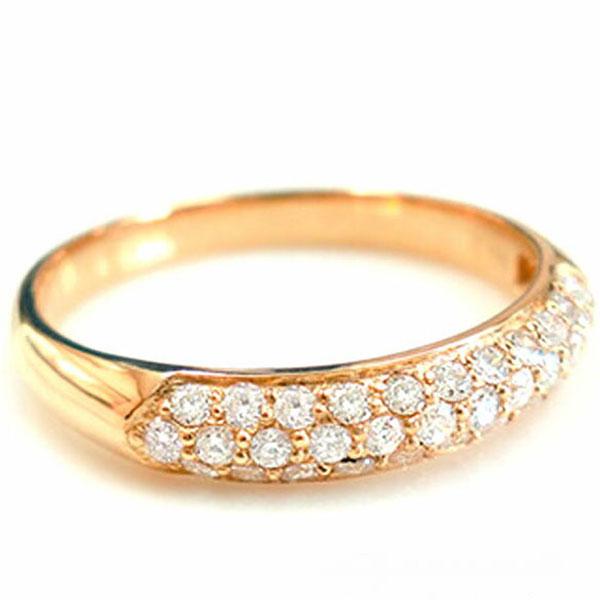 【送料無料】ダイヤモンド リング k18 パヴェ 指輪 ゴールド レディース 華奢 ピンクゴールド ハンドメイド 18k 18金 ホワイトデー