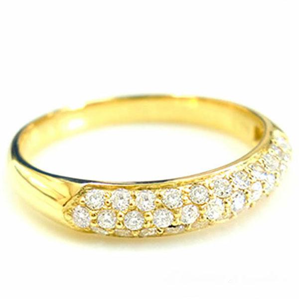 【送料無料】ダイヤモンド リング k18 パヴェ 指輪 ゴールド レディース 華奢 イエローゴールド ハンドメイド 18k 18金 ホワイトデー