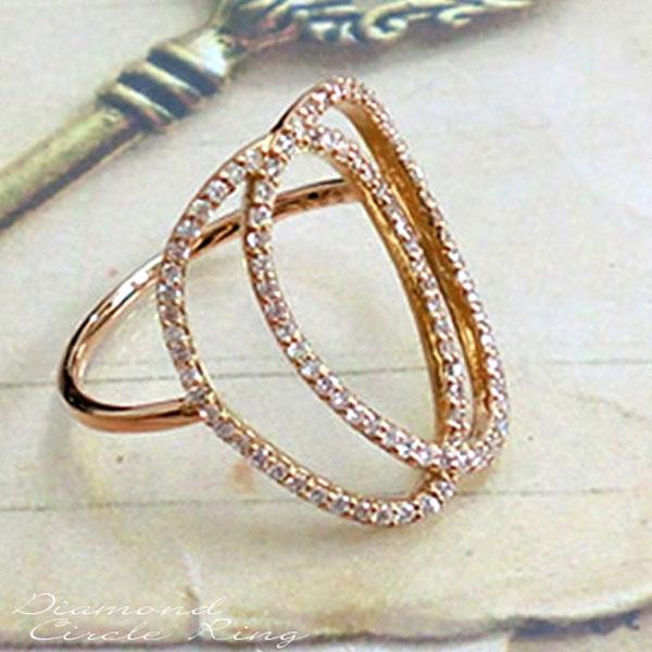 ダイヤモンド リング k18 指輪 ゴールド レディース 華奢 ピンクゴールド ライン カーブ オーバル ハンドメイド 18k 18金 サークル