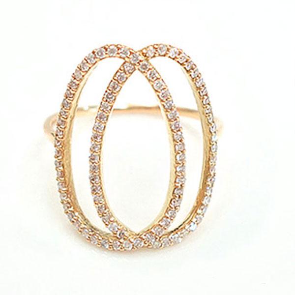 【送料無料】ダイヤモンド リング k10 指輪 ゴールド レディース 華奢 ピンクゴールド ライン カーブ オーバル ハンドメイド 10k 10金 サークル ホワイトデー