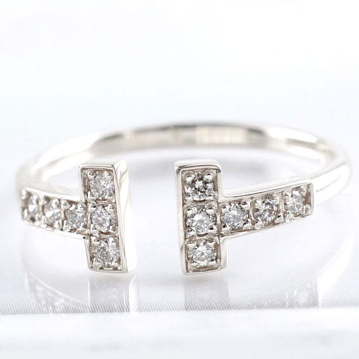 ダイヤモンド リング k18 ホワイトゴールド 指輪 ゴールド ダイヤ レディース 華奢 T字 Tモチーフ 18k 18金