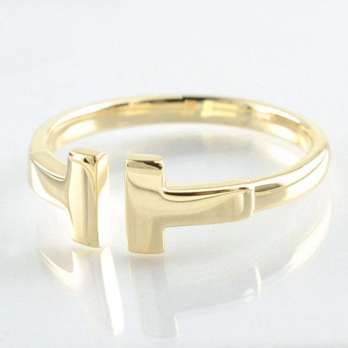 リング k10 指輪 ゴールド 地金 レディース 華奢 T字 Tモチーフ 10k 10金 ワイヤー