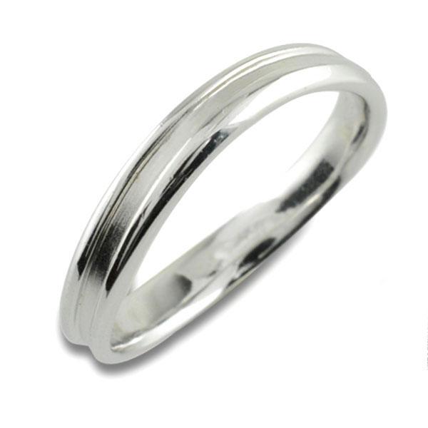 指輪 結婚指輪 婚約指輪 エンゲージリング リング シンプルリング ホワイトゴールドK10 10K 10金 レディース 石なし 地金 ウエーブ 溝有り 曲線