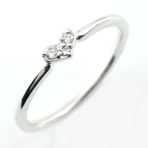 【送料無料】ダイヤモンド リング 指輪 ホワイトゴールド K10 ダイヤモンドリング ピンキーリング ハート ハートモチーフ 10K 10金 ダイヤ レディース ホワイトデー