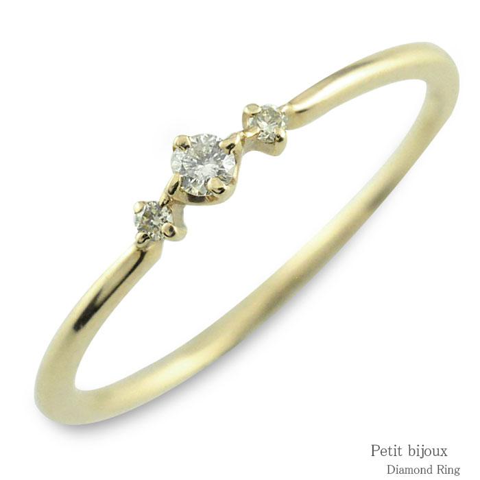 ダイヤモンド リング k10 イエローゴールド指輪 ゴールド ダイヤ レディース 華奢 3石 重ねつけ 10k 10金 スリーストーン