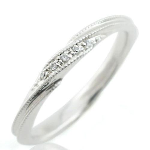 ダイヤモンド リング 指輪 ホワイトゴールド 10K K10 10金 ダイヤモンドリング ピンキーリング ミルウチデザイン ダイヤ レディース