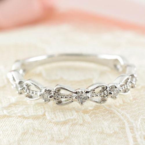 指輪 リング ダイヤモンド ダイヤモンドリング ダイヤ ピンキーリング ホワイトゴールドK10 リボン K10 10金 レディース