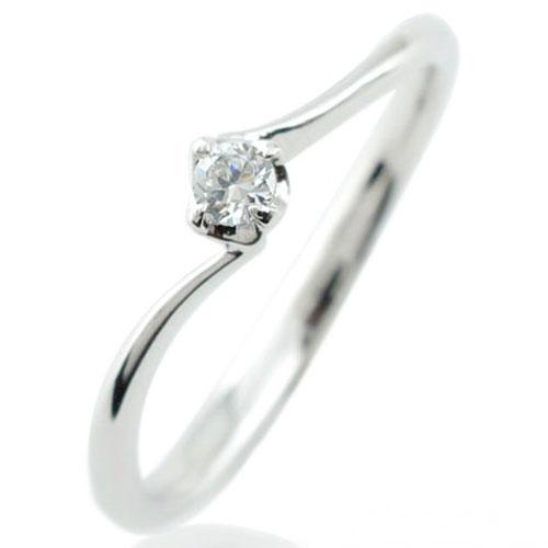 【送料無料】指輪 リング ダイヤモンド ダイヤモンドリング 1粒ダイヤ ピンキーリング ホワイトゴールドK18 18K 18金 レディース ホワイトデー