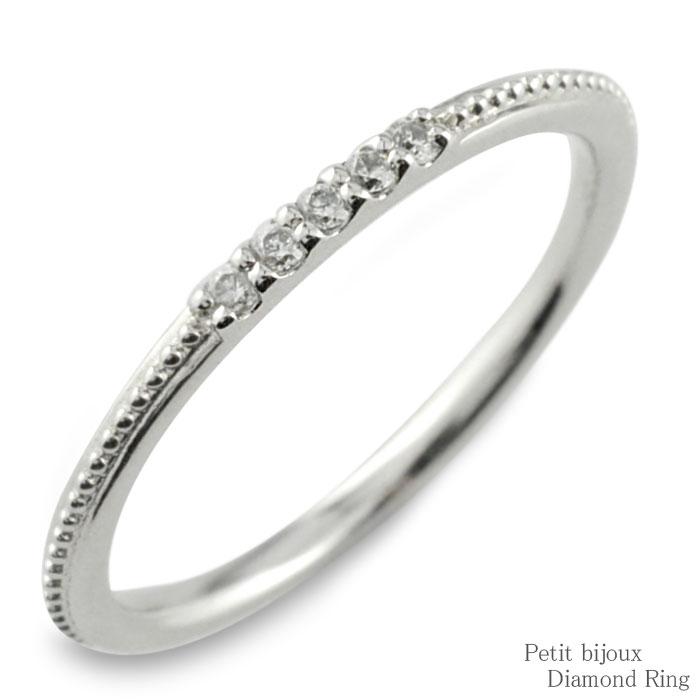 ダイヤモンド リング ホワイトゴールド k10 10金 10k 指輪 ゴールド ダイヤ レディース 華奢 重ねつけ ミルウチ