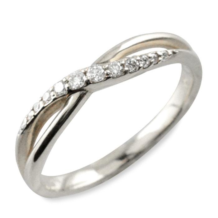 リング ダイヤモンド 指輪 クロス ホワイトゴールド k10 クロスライン ゴールド 10k 10金 重ねづけ 華奢 レディース 天然石