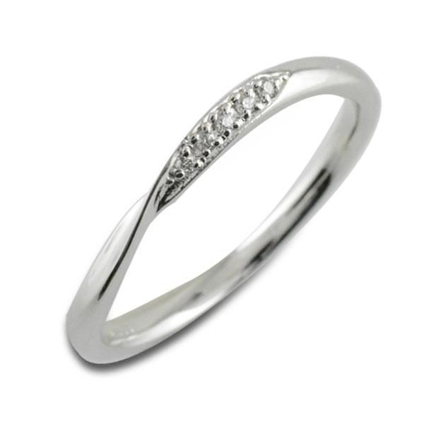【送料無料】指輪 リング ダイヤモンドリング ダイヤモンド シンプルリング ホワイトゴールド ホワイトゴールドK18 K18 18金 レディース 華奢 ウエーブ 曲線 ホワイトデー