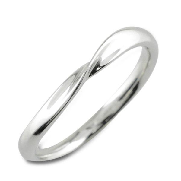 【送料無料】指輪 リング シンプルリング ホワイトゴールド K18 18K 18金 レディース 華奢 地金 ウエーブ 曲線 クリスマス Xmas
