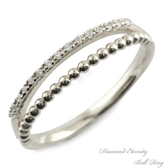 リング ダイヤモンド 指輪 ホワイトゴールド k10 二連風 ハーフエタニティ ボールアーム ゴールド 10k 10金 重ねづけ 華奢 レディース 天然石