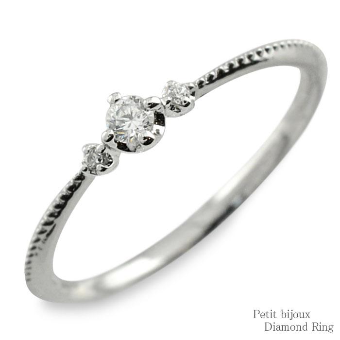 ダイヤモンド リング ホワイトゴールド k10 10金 10k 指輪 ゴールド ダイヤ レディース 華奢 重ねつけ ミルウチ トリニティ