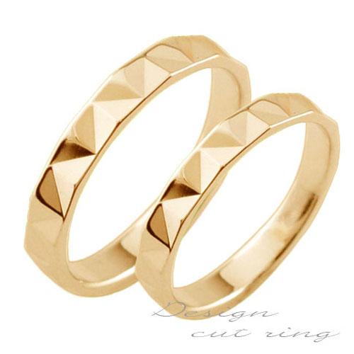 【送料無料】ペアリング マリッジリング 18k 平ウチ ピンクゴールド K18 記念日 カットリング レディース メンズ 指輪 婚約指輪 エンゲージリング 結婚指輪 ブライダル クリスマス Xmas