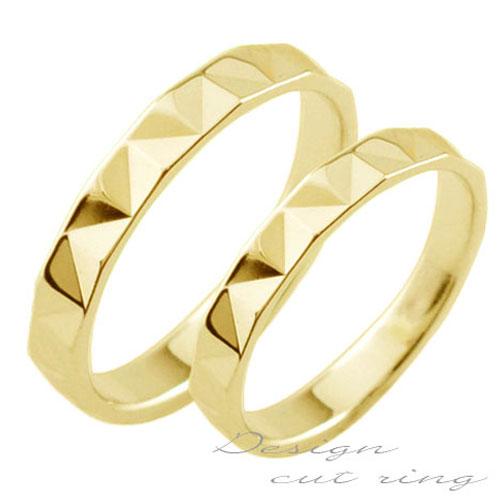 【送料無料】ペアリング マリッジリング 18k 平ウチ イエローゴールド K18 記念日 カットリング レディース メンズ 指輪 婚約指輪 エンゲージリング 結婚指輪 ブライダル