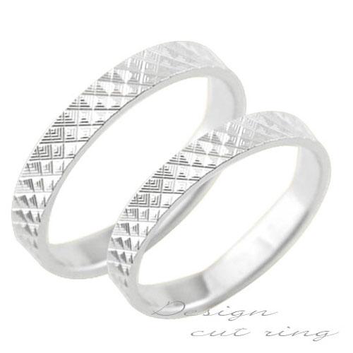 ペアリング マリッジリング 18k 平ウチ ホワイトゴールド K18 記念日 カットリング レディース メンズ 指輪 婚約指輪 エンゲージリング 結婚指輪 ブライダル