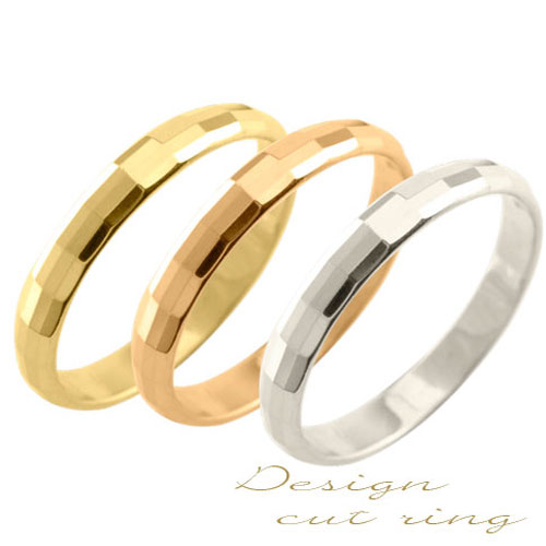 レディース リング ゴールド イエローゴールド シンプル k18 カットリング ストレート 甲丸 地金リング 結婚指輪 エンゲージリング ハンドメイド 18k 18金 カット