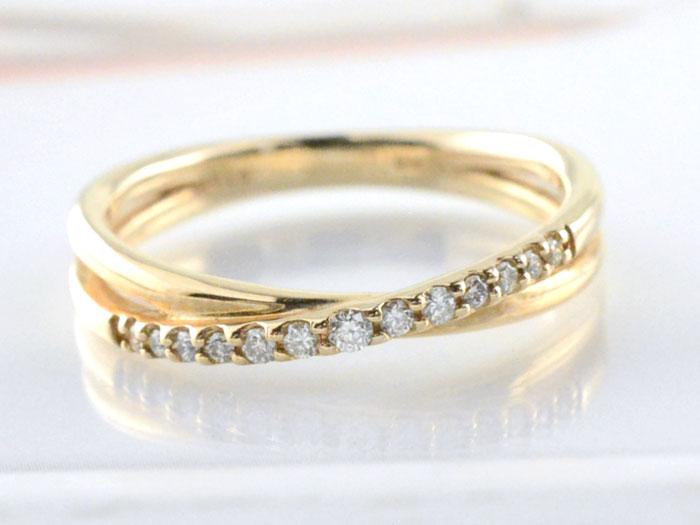 【送料無料】リング ダイヤモンド 指輪 クロス イエローゴールド k18 クロスライン ゴールド 18k 18金 重ねづけ 華奢 レディース 天然石 クリスマス Xmas