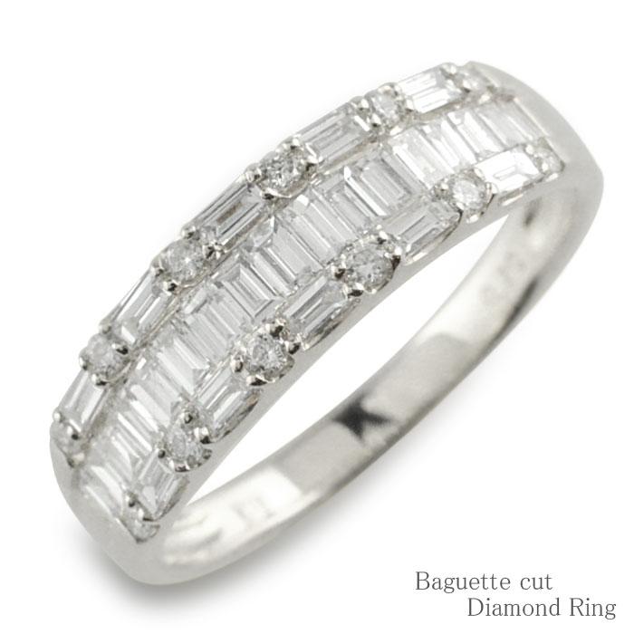 ダイヤモンド リング k18 ホワイトゴールド ダイヤモンドリング バケットカット ハーフエタニティ 個性派 指輪 ゴールド ダイヤ レディース 幅広 18k 18金