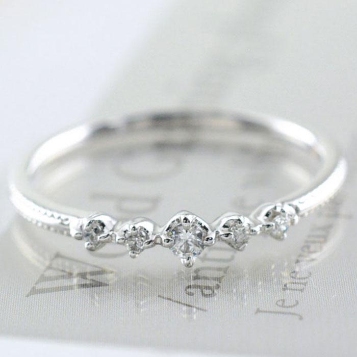 【送料無料】ダイヤモンド リング k10 指輪 ゴールド レディース 華奢 ホワイトゴールド ミルウチ ハンドメイド 10k 10金 ホワイトデー